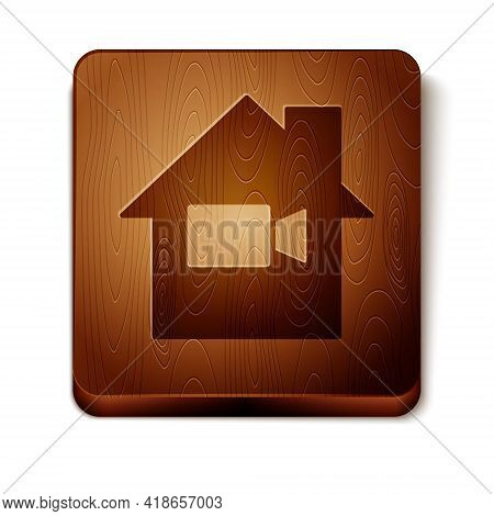 Brown Video Camera Off In Home Icon Isolated On White Background. No Video. Wooden Square Button. Ve
