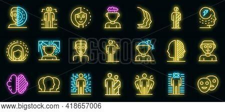 Bipolar Disorder Icons Set. Outline Set Of Bipolar Disorder Vector Icons Neon Color On Black