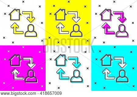 Set Online Working Icon Isolated On Color Background. Freelancer Man Working On Laptop At His House.