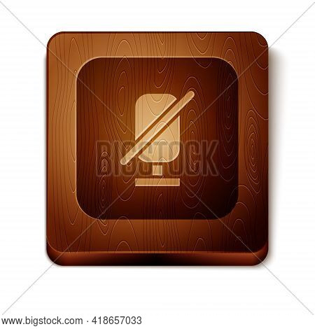 Brown Mute Microphone Icon Isolated On White Background. Microphone Audio Muted. Wooden Square Butto