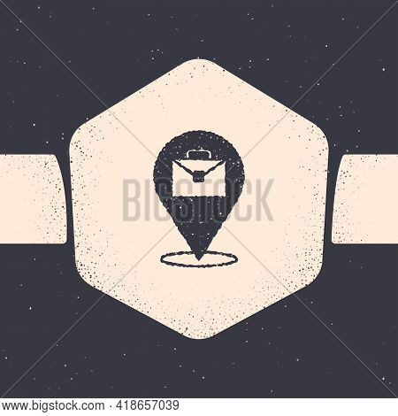 Grunge Online Working Icon Isolated On Grey Background. Freelancer Man Working On Laptop At His Hous