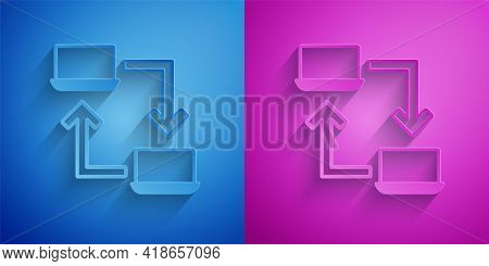 Paper Cut Online Working Icon Isolated On Blue And Purple Background. Freelancer Man Working On Lapt