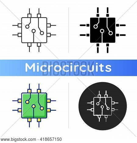 Circuit Board Design Icon. Create Plan How To Place All Microprocessors On Circuit Board Connectors.