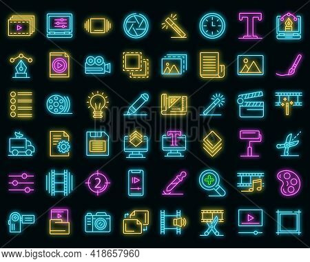 Editor Icons Set. Outline Set Of Editor Vector Icons Neon Color On Black