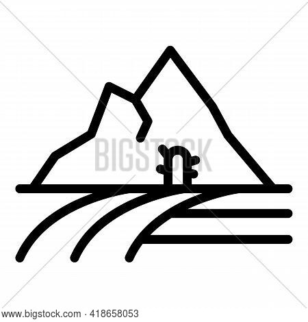 Desert Ranch Icon. Outline Desert Ranch Vector Icon For Web Design Isolated On White Background