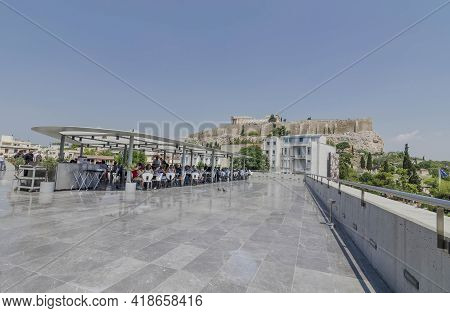 Athens, Greece - June 17, 2017: People On The Terrace On The New Modern Acropolis Museum Rooftop Wit