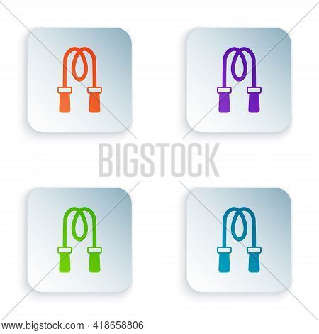 Color Jump Rope Icon Isolated On White Background. Skipping Rope. Sport Equipment. Set Colorful Icon