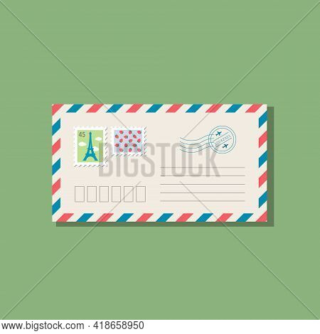 Beige Envelope With Frame Of Blue And Red Stripes. Postage Stamps With Eiffel Tower And Strawberries