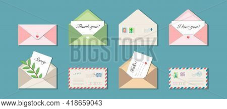 Set Of Eight Vector Envelopes With Postmarks And Postage Stamps. Messages Thank You, I Love You, Hel
