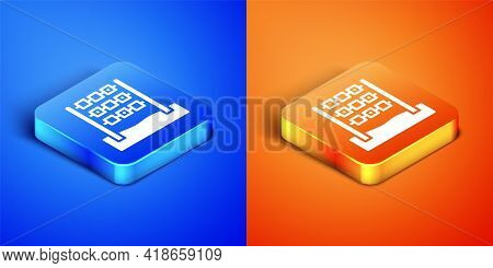 Isometric Tic Tac Toe Game Icon Isolated On Blue And Orange Background. Square Button. Vector