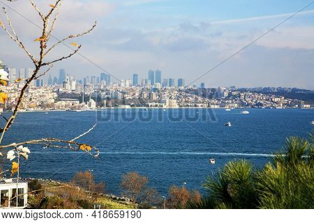 Panoramic View Of Istanbul On A Sunny Winter Day