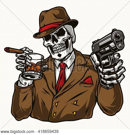Vintage Colorful Concept Of Skeleton Gangster In Fedora Hat And Suit Holding Cigar And Glass Of Whis