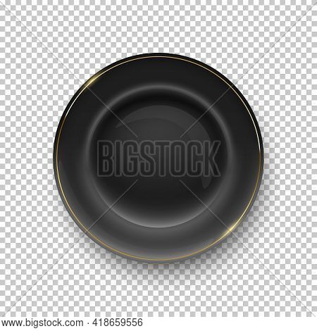 Black Plate With Golden Border On Transparent Background. Empty Dish For Dinner, Breakfast Or Lunch