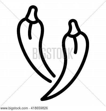 Chilli Pepper Paprica Icon. Outline Chilli Pepper Paprica Vector Icon For Web Design Isolated On Whi