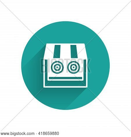 White Shooting Gallery Icon Isolated With Long Shadow. Shooting Range. Green Circle Button. Vector