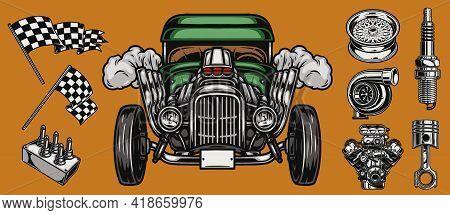 Custom Car And Auto Parts Concept With Hot Rod Racing Checkered Flags Spark Plug Piston Wheel Rim Tu