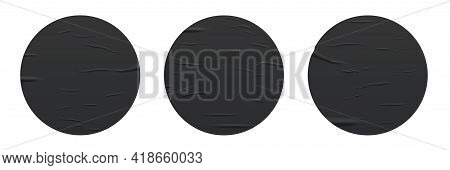 Glued Round Black Stickers Set Isolated On White Background. Vector Realistic Crumpled Posters Bundl
