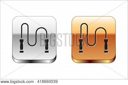 Black Jump Rope Icon Isolated On White Background. Skipping Rope. Sport Equipment. Silver And Gold S