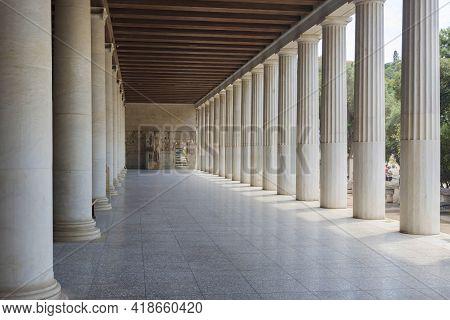 Athens, Greece-june 16, 2017: Beautiful Column Arcades Of The Stoa Of Attalos Building, An Ancient C