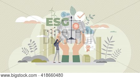 Esg As Environmental Social Governance Business Model Tiny Person Concept. Sustainable And Green Com