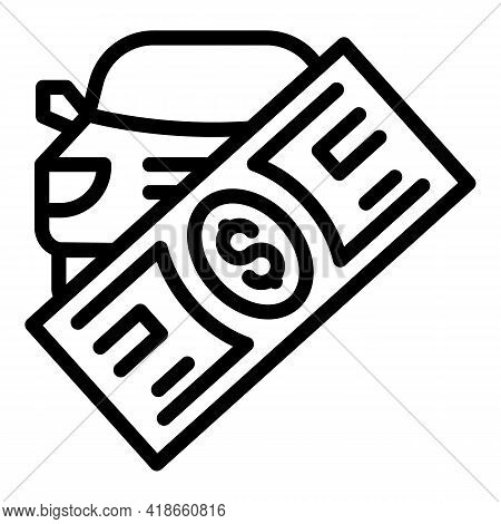 Compensation Car Cash Icon. Outline Compensation Car Cash Vector Icon For Web Design Isolated On Whi