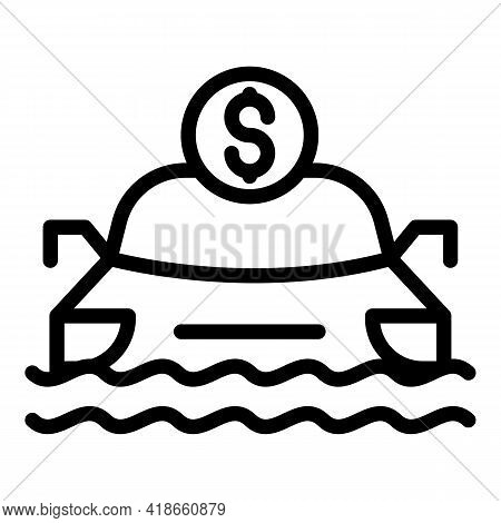 Compensation Car Flood Icon. Outline Compensation Car Flood Vector Icon For Web Design Isolated On W