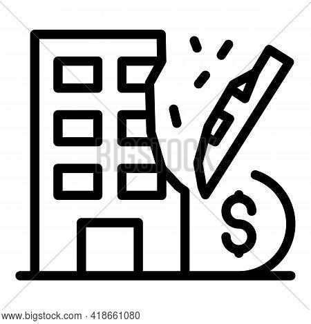 Building Compensation Icon. Outline Building Compensation Vector Icon For Web Design Isolated On Whi