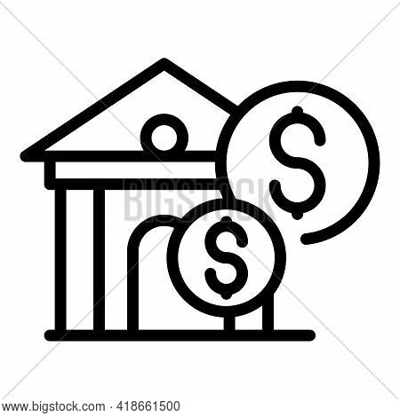 New Bank Compensation Icon. Outline New Bank Compensation Vector Icon For Web Design Isolated On Whi