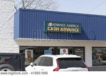 Wabash - Circa April 2021: Advance America Consumer Location. Advance America Is A Payday Loan Compa