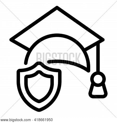 Liability Graduation Hat Icon. Outline Liability Graduation Hat Vector Icon For Web Design Isolated