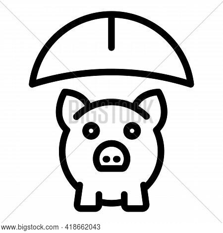Liability Piggy Bank Icon. Outline Liability Piggy Bank Vector Icon For Web Design Isolated On White