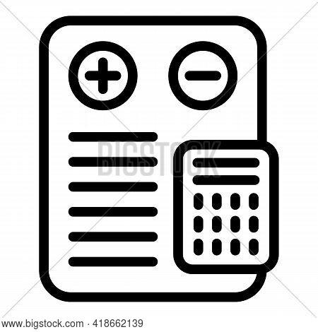 Liability Calculator Icon. Outline Liability Calculator Vector Icon For Web Design Isolated On White