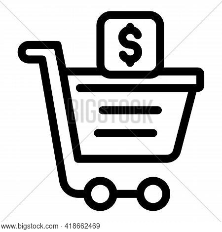 Shopping Payment Cancellation Icon. Outline Shopping Payment Cancellation Vector Icon For Web Design