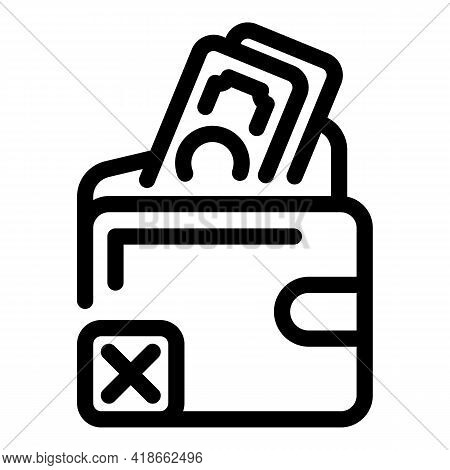 Wallet Payment Cancellation Icon. Outline Wallet Payment Cancellation Vector Icon For Web Design Iso