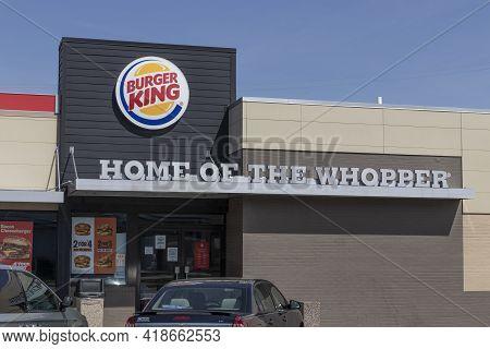 Wabash - Circa April 2021: Burger King Fast Food Restaurant. Burger King Is A Subsidiary Of Restaura