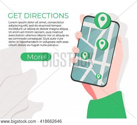 Get Directions Website Ui Kit. Company Address, Contact Us Page, Website Menu Bar, Navigation, Maps