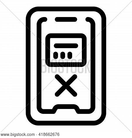 Online Phone Payment Cancellation Icon. Outline Online Phone Payment Cancellation Vector Icon For We