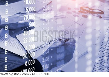 Double Exposure Businessman And Stock Market Or Forex Graph Suitable For Financial Investment Concep
