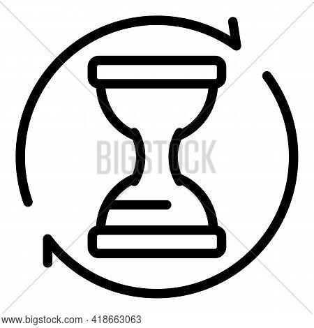 Rush Job Hourglass Icon. Outline Rush Job Hourglass Vector Icon For Web Design Isolated On White Bac