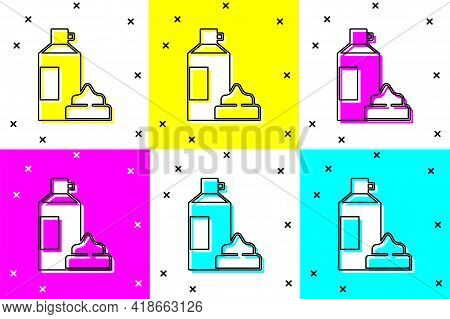 Set Whipped Cream In An Aerosol Can Icon Isolated On Color Background. Sweet Dairy Product. Milk Pro