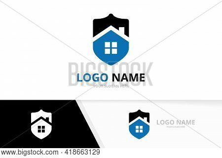 Vector Real Estate And Shield Logo Combination. House And Security Logotype Design Template.