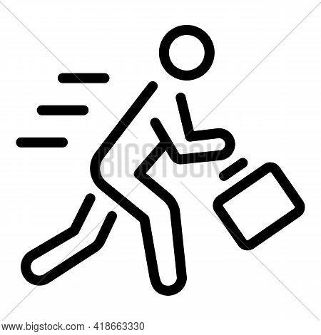 Rush Job Running Icon. Outline Rush Job Running Vector Icon For Web Design Isolated On White Backgro