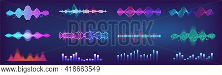 Sound Waves Equalizer Colorful Collection. Futuristic Set In Hud Style - Music Waves, Frequency Audi