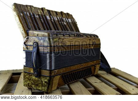 Former 120 Bass Student Accordion For Music School. Musical Instrument. Blowing Instrument And Bello
