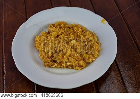 Homemade Chicken Risotto Served On White Plate