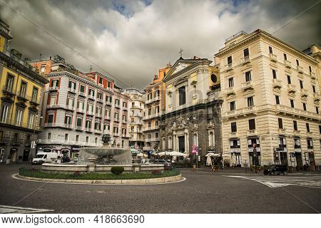 Naples, Italy - December 18, 2019: Piazza Trieste E Trento With Historical Buildings In Naples, Ital