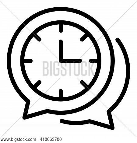 Rush Job Chat Time Icon. Outline Rush Job Chat Time Vector Icon For Web Design Isolated On White Bac