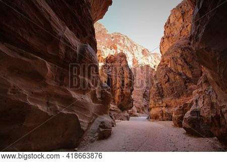 The Magnificent Colors Of The Siq Of Petra. High Quality Photo