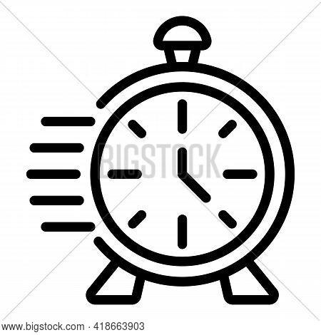 Rush Job Alarm Clock Icon. Outline Rush Job Alarm Clock Vector Icon For Web Design Isolated On White
