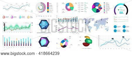 Graphic Set Charts, Infographics And Diagrams. Colorful Infocharts And Infographic With Detailed Sta